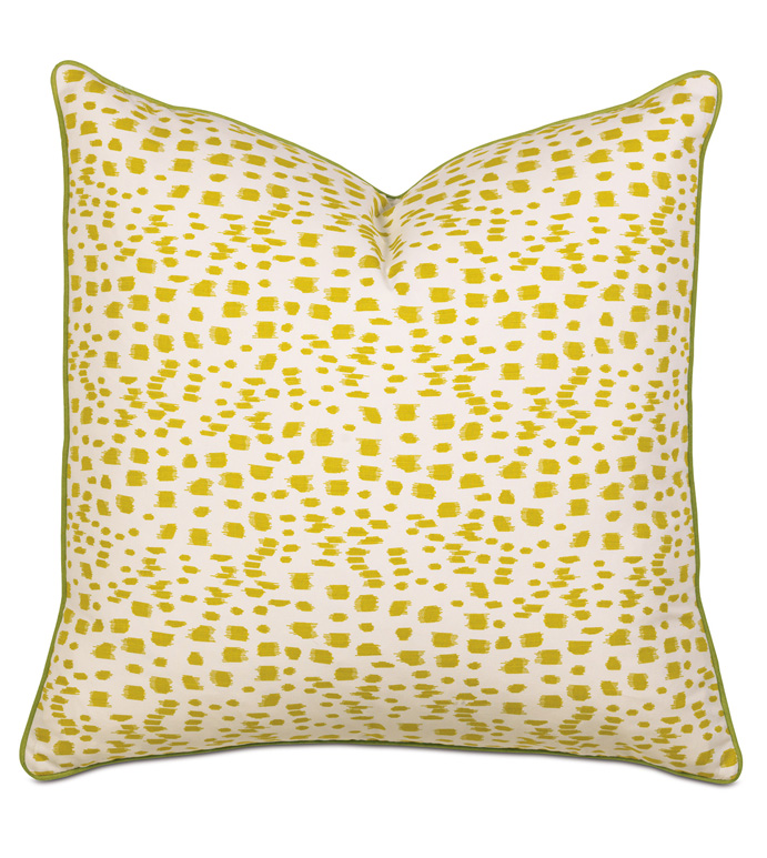 TROPICAL DREAMS EURO SHAM - pillow,euro sham,whimsical pillow,square pillow,toss cushion,throw pillow,accent pillow,yellow print pillow,customized pillow,decorative pillow,polka dot pillow,femine pillow