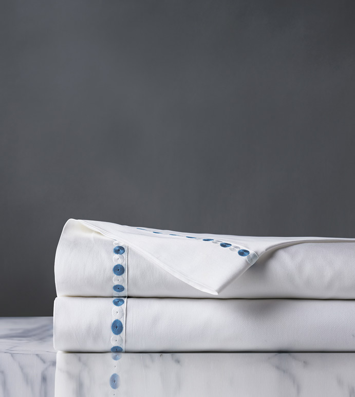 Tivoli Ocean Flat Sheet - flat sheet,queen flat sheet,white sheet,washable flat sheet,blue sheet,high thread count sheet,egyptian cotton sheet,luxury linen,luxury sheet,high end bedding,bedding,top of bed