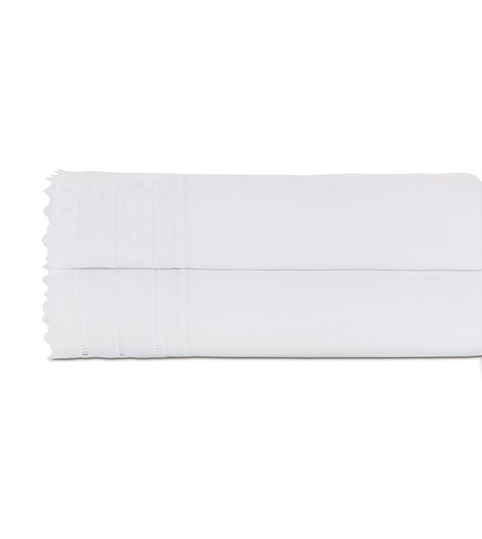 Harper White Flat Sheet - flat sheet,queen flat sheet,classic white sheet,washable flat sheet,lace flat sheet,high thread count flat sheet,egyptian cotton sheet,luxury linen,luxury flat sheet,top of bed