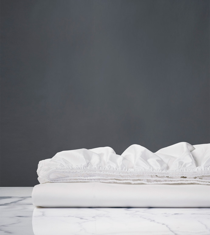 Nuvola Classic White Fitted Sheet - fitted sheet,queen fitted sheet,classic white sheet,washable fitted sheet,lace sheet,high thread count sheet,eqyptian cotton fitted sheet,luxury linen,luxury sheets,top of bed