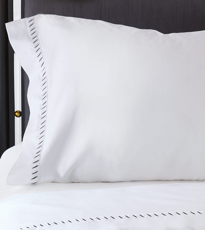 Ona Charcoal Pillowcase - pillowcase,white pillowcase,luxury linen,gray pillow case,high thread count pillow case,sateen pillow case,egyptian cotton pillow case,luxury bedding,fine linen,washable,bedding