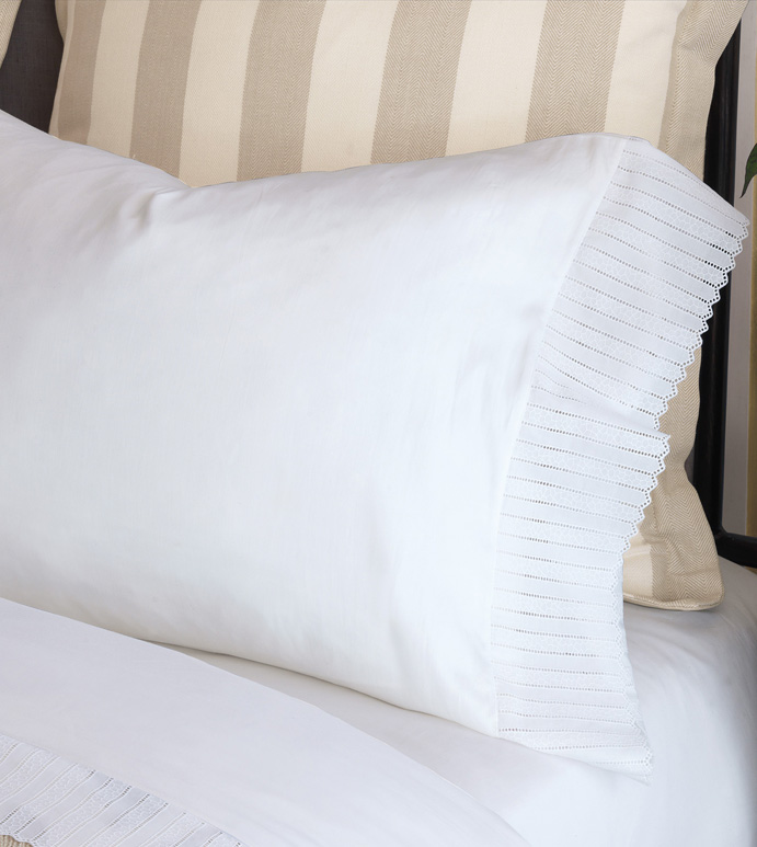 Abingdon White Pillowcase - pillowcase,white pillowcase,luxury linen,lace pillow case,high thread count pillow case,sateen pillow case,egyptian cotton pillow case,luxury bedding,fine linen,washable sheets