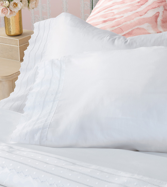 Harper White Pillowcase