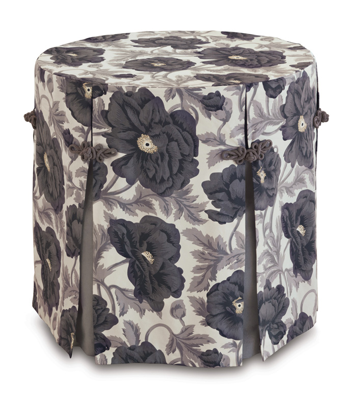 Poppy Smoke Skirted Table Cloth - table cloth,skirted table cloth,traditional table cloth,celerie kemble table cloth,customizable table cloth,floral table cloth,gray table cloth,whimsical table top,table top