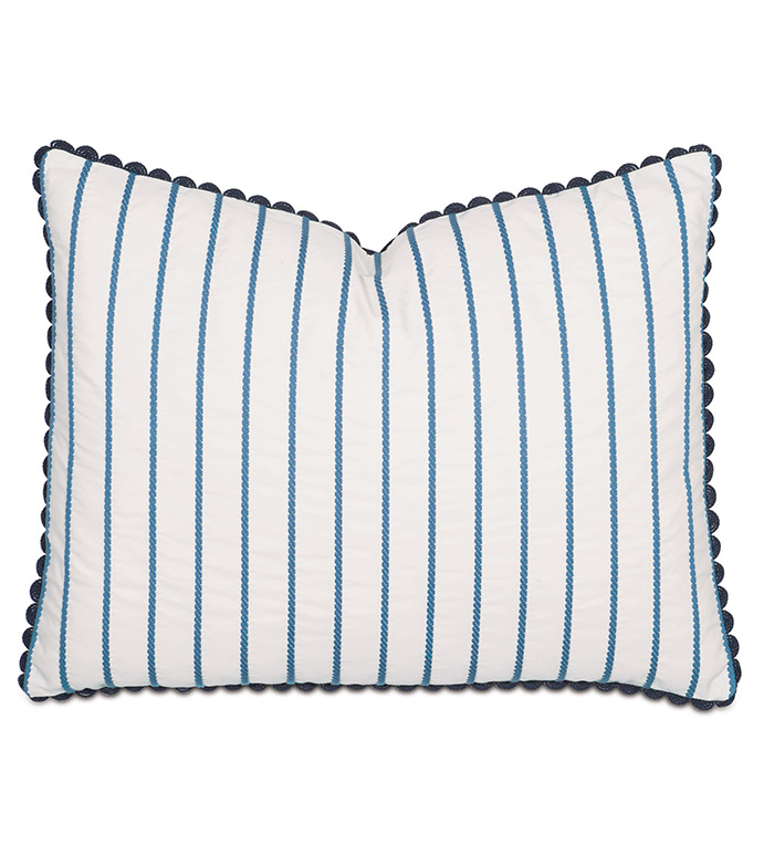 LACECAP STANDARD SHAM - PILLOW,BLUE STRIPE PILLOW,STANDARD SHAM PILLOW,BLUE PILLOW,RECTANGLE PILLOW,THROW PILLOW,ACCENT PILLOW,DEORATIVE PILLOW,FEATHER PILLOW,CUSTOMIZABLE PILLOW,ZIPPER CLOSURE PILLOW