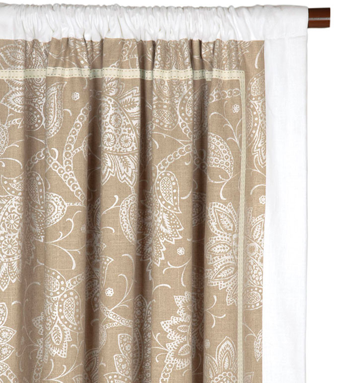 AILEEN CURTAIN PANEL LEFT - FLORAL PRINT CURTAIN PANEL,PAISLEY CURTAIN PANEL,PAISLEY CURTAIN,WHITE AND TAN,NEUTRAL,WHITE,IVORY,CREAM,ROD POCKET PANEL,CURTAIN,DRAPERY,WINDOW TREATMENT,INSET TRIM,BORDER EDGE