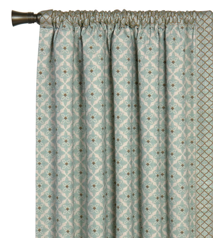 Arlo Ice Curtain Panel Left - SPA GREEN CURTAIN PANEL,DECORATIVE ROD POCKET PANEL,BOHEMIAN CURTAIN,GREEN AND WHITE,BLUE AND WHITE,LEADING EDGE TRIM,COASTAL,CONTEMPORARY,EARTH TONE,GRAPHIC DESIGN,EARTH TONE