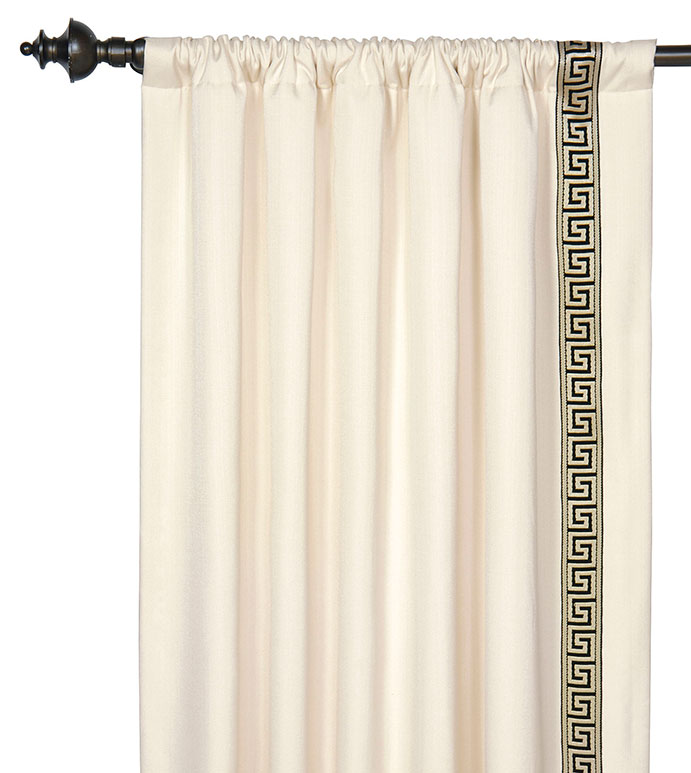 FOLLY PARCHMENT CURTAIN PANEL LEFT - CREAM,IVORY,GREEK KEY,GREEK KEY CURTAIN,ROD POCKET PANEL,ROD POCKET CURTAIN,DRAPERY,WINDOW TREATMENT,LEADING EDGE,BLACK AND GOLD,TRIM,WINDOW PANEL,DESIGNER DRAPERY,CLASSIC,GLAM