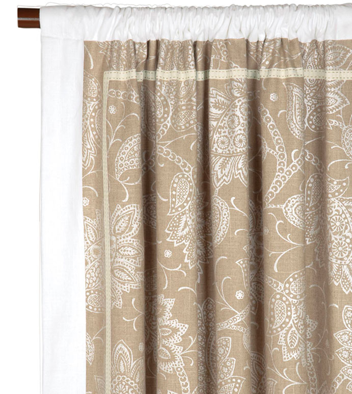 AILEEN CURTAIN PANEL RIGHT - FLORAL PRINT CURTAIN PANEL,PAISLEY CURTAIN PANEL,PAISLEY CURTAIN,WHITE AND TAN,NEUTRAL,WHITE,IVORY,CREAM,ROD POCKET PANEL,CURTAIN,DRAPERY,WINDOW TREATMENT,INSET TRIM,BORDER EDGE