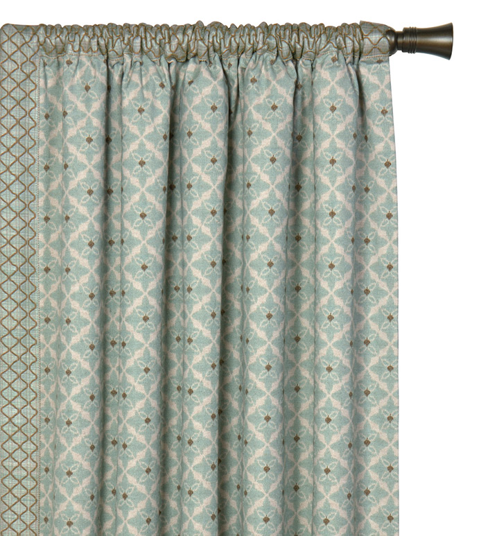 ARLO ICE CURTAIN PANEL RIGHT - spa green curtain panel,decorative rod pocket panel,bohemian curtain,green and white,blue and white,leading edge trim,coastal,contemporary,earth tone,graphic design,earth tone