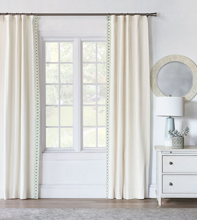 FILLY WHITE CURTAIN PANEL RIGHT - WHITE CURTAIN WITH ACCENT TRIM,WHITE ROD POCKET CURTAIN,NEUTRAL GIRLS DRAPERY,WHITE AND BLUE,WHITE AND GREEN,FLORAL,FEMININE,NEUTRAL,CASUAL CONTEMPORARY,TWEEN ROOM DRAPERY,TRIM