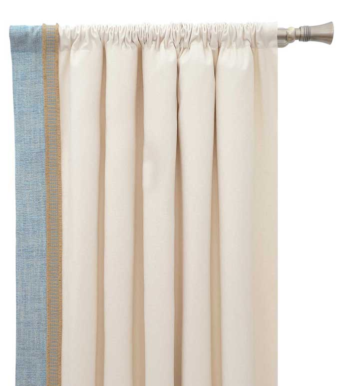 Adler Natural Curtain Panel Right - TROPICAL CURTAIN,COASTAL CURTAIN,COASTAL WINDOW TREATMENT,ISLAND HOUSE CURTAIN,BEACH HOUSE CURTAIN,WHITE AND BLUE,IVORY AND BLUE,CASUAL COASTAL,COASTAL ROD POCKET PANEL,HEMP TRIM