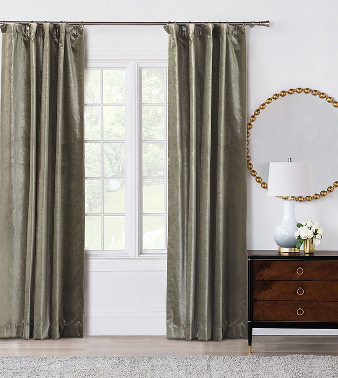 Velda Smoke Curtain Panel - VELVET,VELOUR,NEUTRAL,GREY,CURTAIN,SHINY,PANEL,METALLIC,ROD