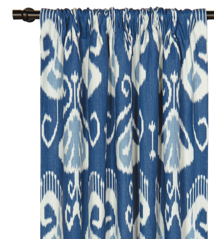 CEYLON CURTAIN PANEL - blue ikat curtain,blue rod pocket curtain,ikat drapery,blue printed,blue and white,tropical blue,casual,contemporary,blue tropical drapery,beach style,blue ikat,coastal,dark blue