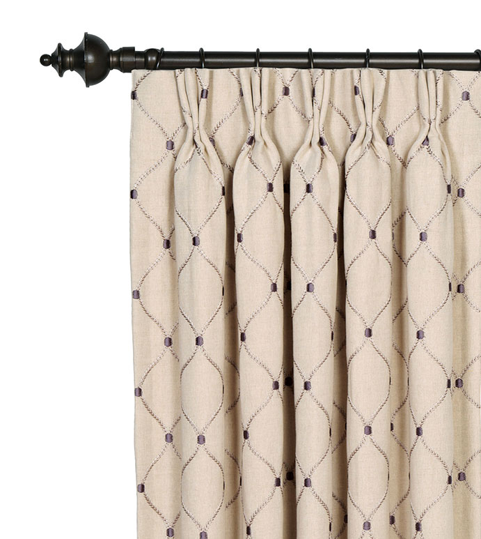 Branson Ivy Curtain Panel - LATTICE DESIGN CURTAIN,GRAY PLEATED DRAPE,GRAY PLEATED CURTAIN,EMBROIDERED GRAY CURTAIN,EMBROIDERED CURTAIN,PINCH PLEAT CURTAIN,TRADITIONAL PLEATED CURTAIN,GRAY AND TAN,EMBROIDERED