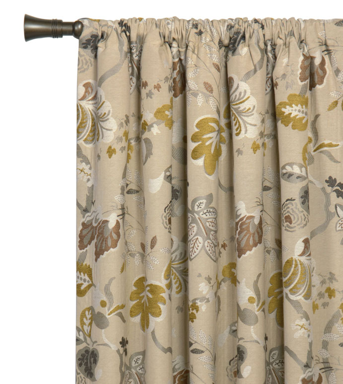 CALDWELL CURTAIN PANEL - TAN BOTANICAL CURTAIN,NEUTRAL FLORAL CURTAIN,WOVEN FLORAL DRAPE,TAN AND GREEN,FLORAL PRINT DRAPERY,FEMININE,CONTEMPORARY,ECLECTIC,METALLIC,LARGE FLORAL CURTAIN,VINE PATTERN,NEUTRAL