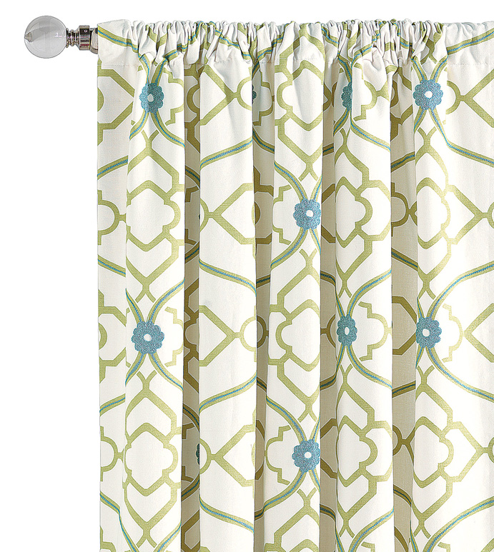 BRADSHAW CURTAIN PANEL - WHITE AND GREEN FLORAL CURTAIN,BLUE AND GREEN,WHITE AND BLUE,FLORAL ROD POCKET CURTAIN,BRIGHT FEMININE DRAPERY,CASUAL CONTEMPORARY,GREEN ROD POCKET DRAPERY,TWEEN ROOM DRAPERY