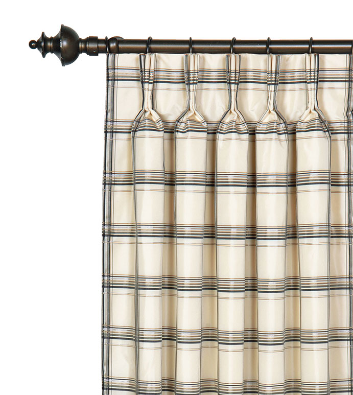 Abernathy Grid Curtain Panel - PLAID,BLACK AND WHITE,PLEATED PANEL,PINCH PLEAT PANEL,CURTAIN,PLEATED CURTAIN,WINDOW TREATMENT,WINDOW COVERING,PLAID DRAPERY,GOLD,BLACK,CREAM,IVORY,STRIPED,CLASSIC,ELEGANT,CHECKER