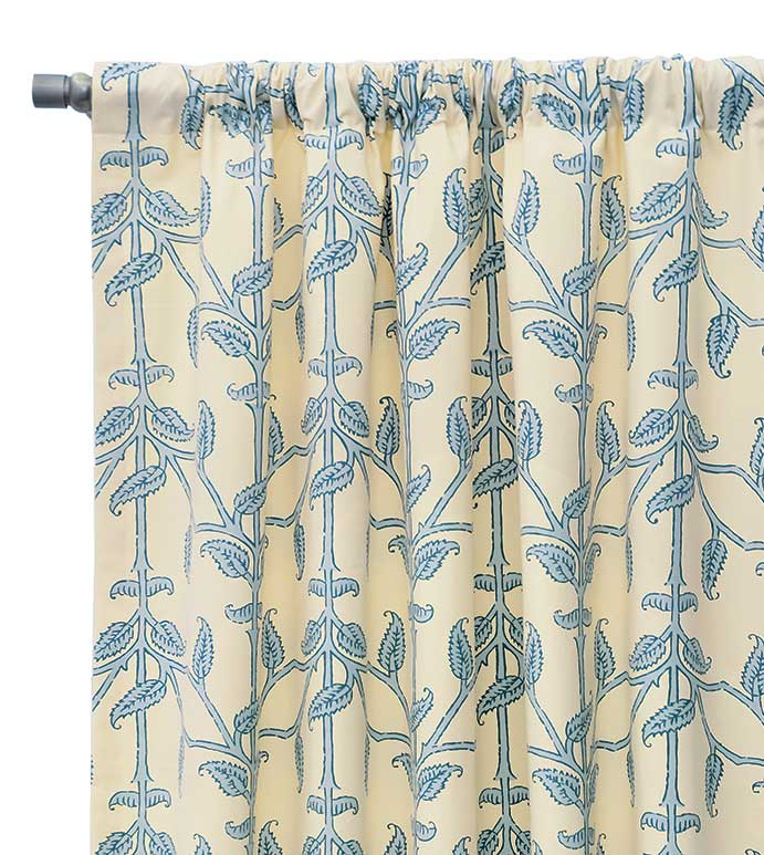 Badu Beanstalk Curtain Panel - coastal printed curtain,blue and white curtain,blue and white rod pocket,vine printed,coastal feminine curtain,lake house,beach house,tropical,casual,contemporary,island drapery