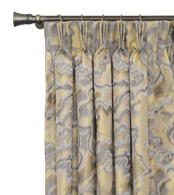 Amal Curtain Panel - SILVER,TAUPE,GREY,DESIGN,GLAM,MODERN,METALLIC,BEDROOM,LUXURY BEDDING,INTERIOR DESIGN,MODERN,PLEATED,DRAPERY,PINCH PLEAT,PATTERN,ABSTRACT,SHINY,WOVEN,PANEL,DRAPE,WINDOW,TREATMENT