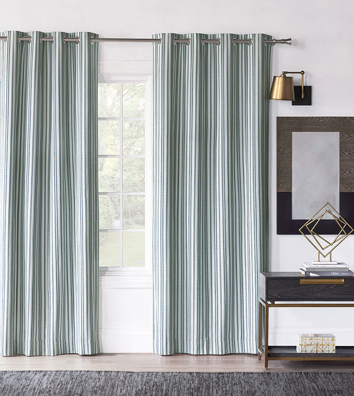 Hugo Stripe Curtain Panel - CURTAIN,DRAPERIES,DRAPES,CURTAIN PANEL,BLUE,GREEN,STRIPED,STRIPES,GREEN AND BLUE,BOYS,KIDS,CHILDRENS,GROMMETS,LUXURY,LUXURY DÉCOR