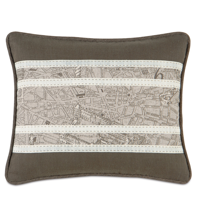 TROMPE MOCHA INSERT - french themed pillow,map pillow,map pillow,vintage map pillow,tan and gray,neutral,rustic pillow,french map pillow,paris pillow,contemporary,printed map pillow,france,striped