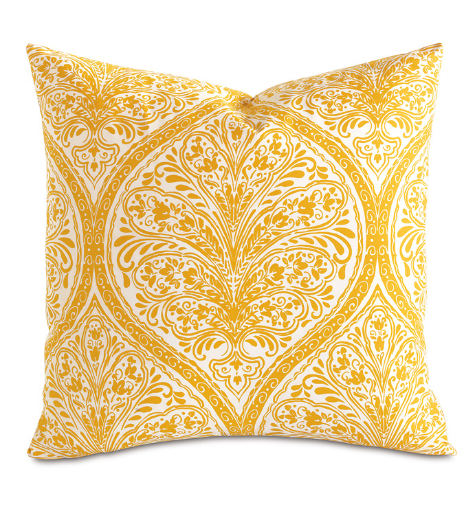 Adelle Percale Decorative Pillow in Saffron - PERCALE,DECORATIVE PILLOW,PILLOW,ACCENT PILLOW,THROW PILLOW,BED PILLOW,SOFA PILLOW,MEDALLION,DAMASK,JACQUARD,PRINT,PATTERN,YELLOW,BRIGHT,OGEE,VECTOR,LUXURY BEDDING,EASTERN ACCENTS