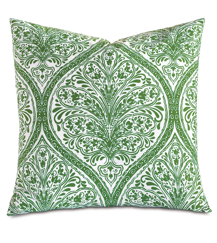 Adelle Percale Decorative Pillow in Grass - PERCALE,DECORATIVE PILLOW,PILLOW,ACCENT PILLOW,THROW PILLOW,BED PILLOW,SOFA PILLOW,MEDALLION,DAMASK,JACQUARD,PRINT,PATTERN,GREEN,BRIGHT,OGEE,VECTOR,LUXURY BEDDING,EASTERN ACCENTS