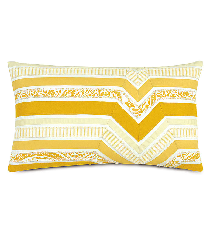Adelle Ombre Decorative Pillow in Sunshine - DECORATIVE PILLOW,ACCENT PILLOW,THROW PILLOW,BED PILLOW,SOFA PILLOW,LUXURY BEDDING,RIBBON,OMBRE,STRIPED,STRIPE,PATTERN,TEXTURED,APPLIQUE,PIECED,EASTERN ACCENTS,YELLOW,GRADIENT