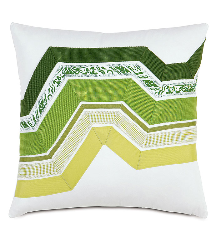 Adelle Ombre Decorative Pillow in Green - DECORATIVE PILLOW,ACCENT PILLOW,THROW PILLOW,BED PILLOW,SOFA PILLOW,LUXURY BEDDING,RIBBON,OMBRE,STRIPED,STRIPE,PATTERN,TEXTURED,APPLIQUE,PIECED,EASTERN ACCENTS,GREEN,GRADIENT