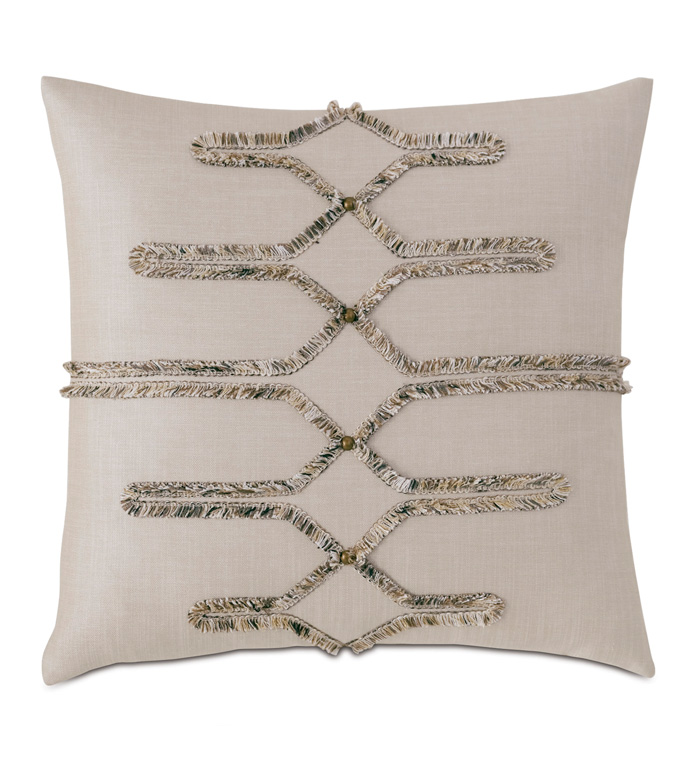 Teryn Brush Fringe Decorative Pillow - DECORATIVE PILLOW,ACCENT PILLOW,THROW PILLOW,PIECED,APPLIQUED,BRUSH FRINGE,TRIM APPLICATION,TEXTURED,LAYERED,LUXURY,NAILHEADS,MOUNTAIN,DESERT,GLAM,EARTH,EASTERN ACCENTS,