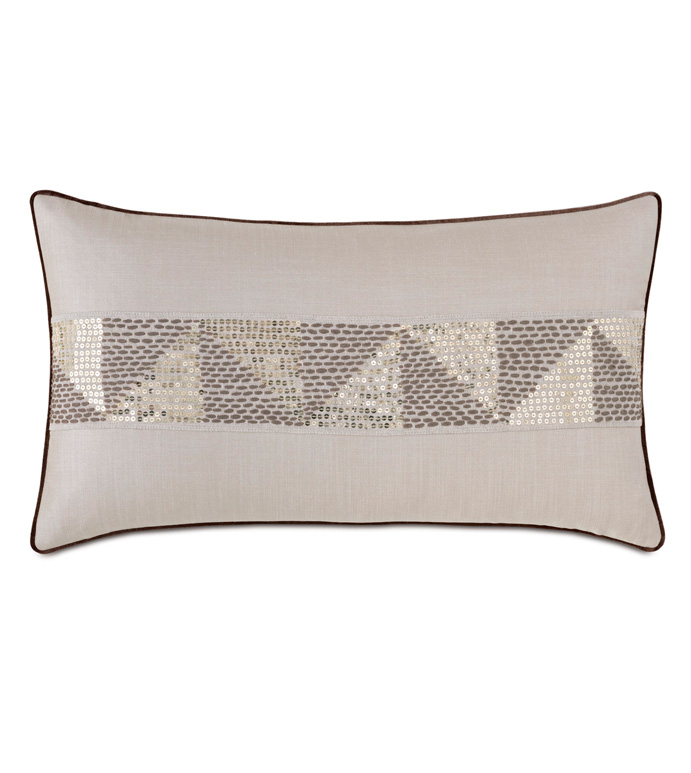 Teryn Sequined Decorative Pillow - 15X26,THROW PILLOW,DECORATIVE PILLOW,ACCENT PILLOW,RECTANGULAR,OBLONG,SMALL,GLAM,GLAMOROUS,SEQUINS,EMBROIDERED,EMBROIDERY,GEOMETRIC,METALLIC,GOLD,TRIANGLE,TEXTURED,TEXTURE,SEQUINED