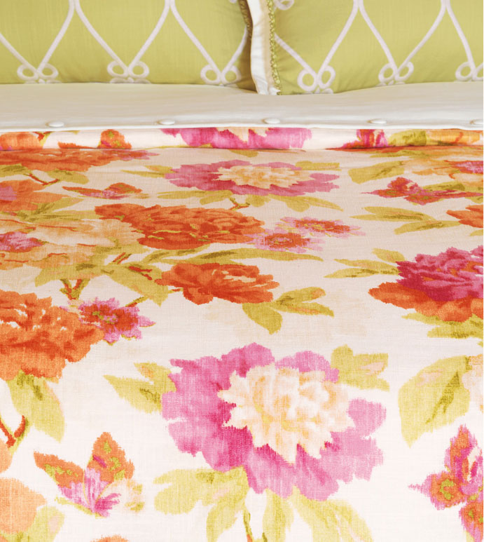 Caroline Azalea Duvet Cover - BRIGHT FLORAL DUVET COVER,ORANGE FLORAL DUVET,PINK AND ORANGE DUVET COVER,BUTTERFLY DUVET,ECLECTIC DUVET,FEMININE,TWEEN ROOM DUVET COVER,BOTANICAL,FLOWER POWER,CONTEMPORARY,GREEN