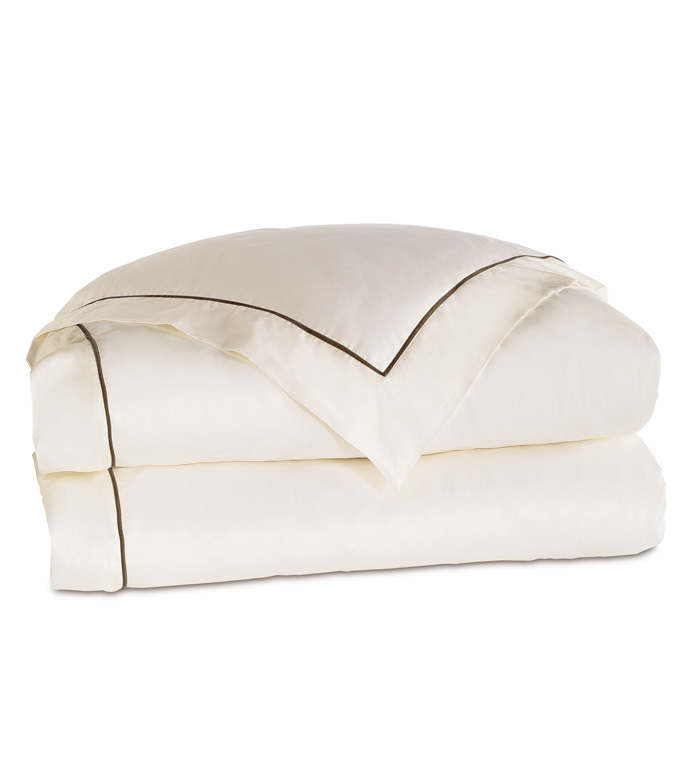 Linea Velvet Ribbon Duvet Cover In Ivory & Walnut - ,