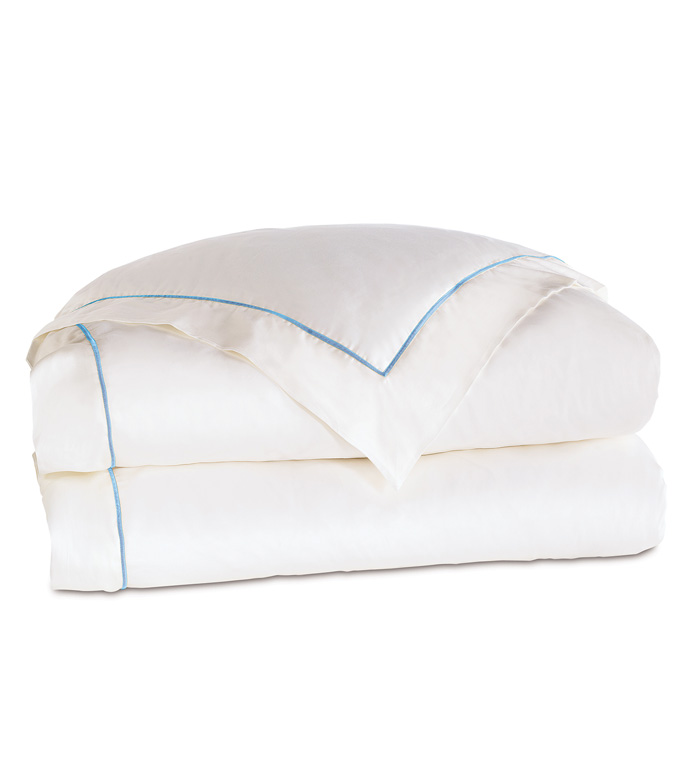 Linea Velvet Ribbon Duvet Cover In White & Azure - ,