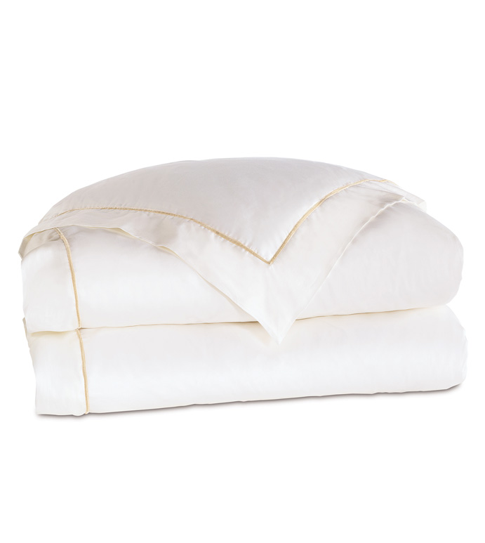 Linea Velvet Ribbon Duvet Cover In White & Ecru - ,