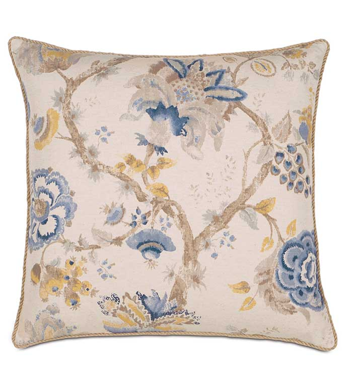 Emory with Cord Euro Sham - ASIAN FLORAL PILLOW,BLUE FLORAL PILLOW,BLUE AND GOLD,BLUE AND YELLOW,BLUE AND TAN,ASIAN DESIGN,EAST ASIAN,LARGE FLORAL PRINT,OVERSIZED FLORAL PILLOW,BOTANICAL EURO SHAM,FLOWER