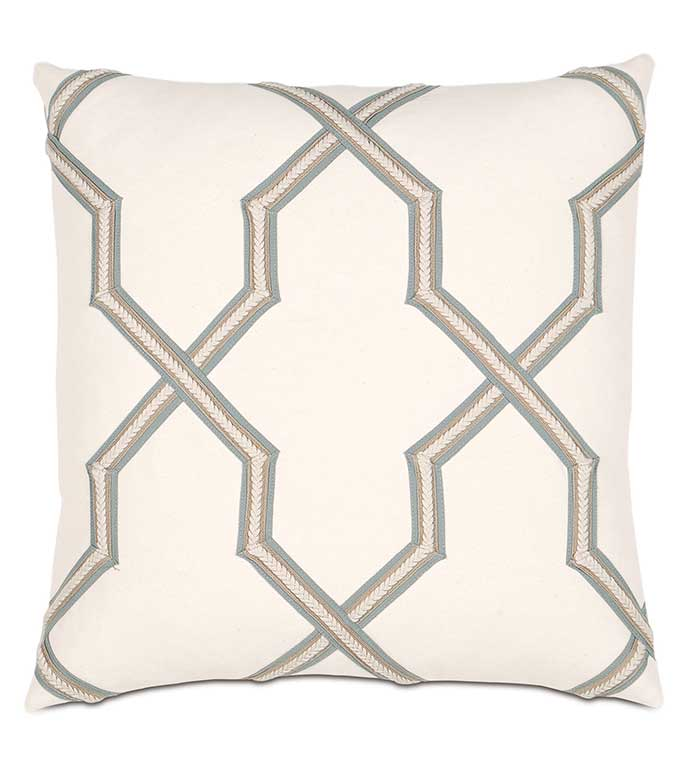 Adler Natural WITH gimp - TAN LATTICE PILLOW,IVORY LATTICE PILLOW,TRIM APPLIQUE,BLUE AND WHITE,WHITE AND BLUE,TRANSITIONAL,LAYERED,IVORY GEOMETRIC PILLOW,NEUTRAL,CONTEMPOARY,BRAIDED TRIM,LINEAR,BEIGE,TAN