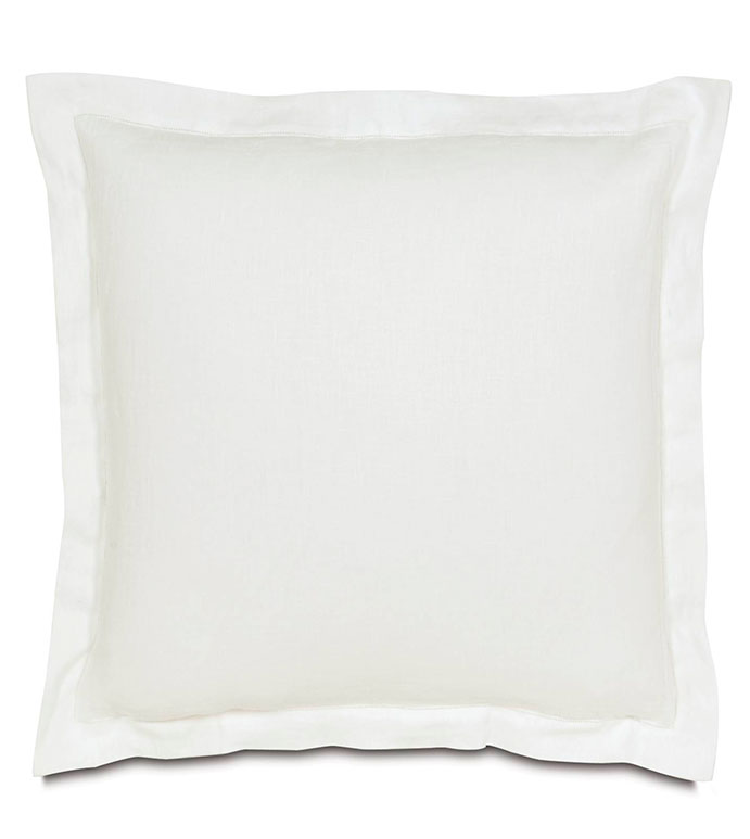 BREEZE WHITE EURO SHAM - linen euro sham,white euro sham,white linen,white linen pillowcase,white linen sham,hemstitch border,euro sham with flange,white sham with flange,solid white,white,neutral