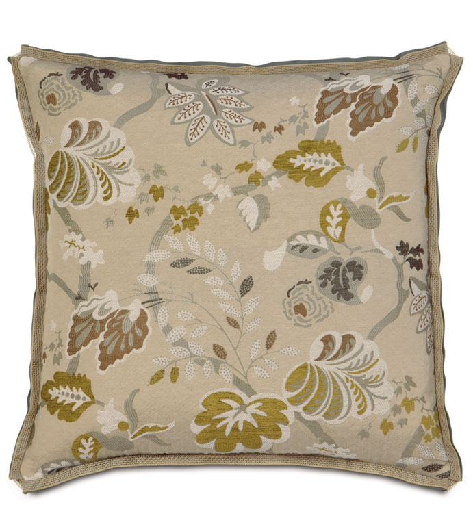 CALDWELL EURO SHAM - tan botanical pillow,oversized floral pillow,contemporary,casual feminine pillow,woven floral pillow,tan and green,chartreuse,butterfly pleat pillow,transitional,eclectic,muted