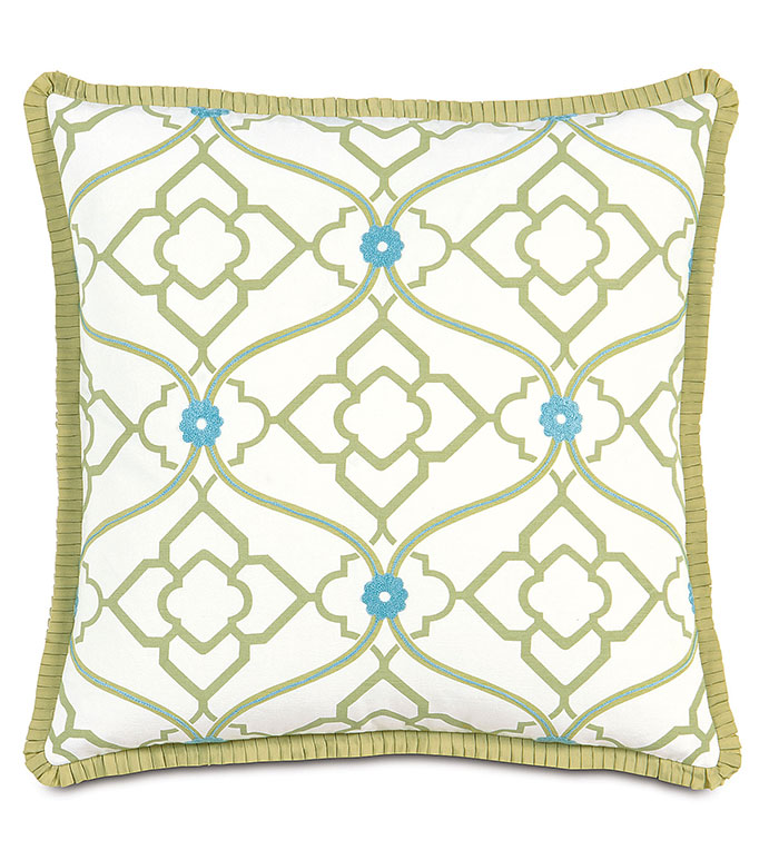 BRADSHAW EURO SHAM - green and blue euro sham,bright feminine pillow,green and blue,embroidered,geometric,floral pattern,contemporary,feminine,lime green euro sham,oversized floral pillow