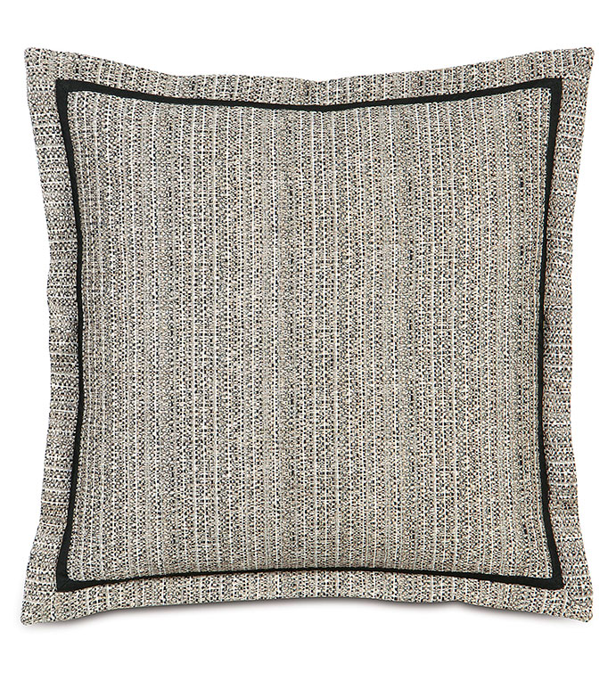 ABERNATHY EURO SHAM - WOVEN,HEATHER,SOLID TEXTURE,BLACK,GREY,TAN,SPECKLED,EURO SHAM,TRIM,BORDER,GREY AND BLACK,FLANGE EDGE,BED PILLOW,DECORATIVE PILLOW,NEUTRAL,STRIPED,VERTICAL STRIPED,CLASSIC,GRAY