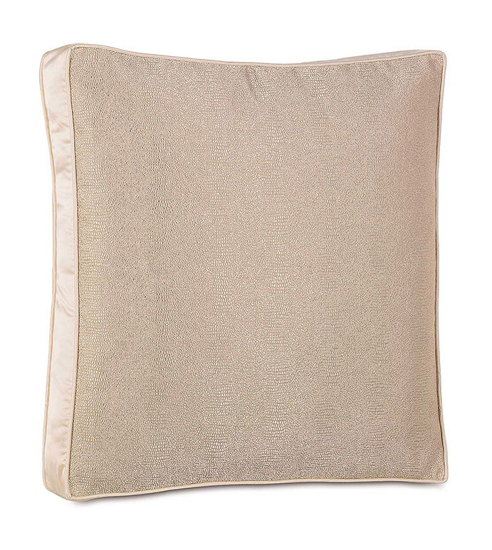 Dunaway Fawn Euro Sham - SHINY,PATTERN,TAN,GLAMOUR,METALLIC,SNAKESKIN,ELEGANT,OPULENT,FEMININE,GOLD,LUXURY,CHAMPAGNE,PILLOW,DECORATIVE,HOME DECOR,BEIGE,LUXURY BEDDING,BOXED,SQUARE,TRIM,ANIMAL PRINT,WELT