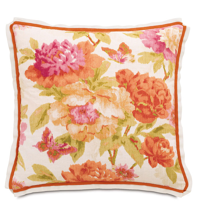 Caroline Azalea Euro Sham - ORANGE FLORAL PILLOW,PINK AND ORANGE,BRIGHT FLORAL PILLOW,COLORFUL FLORAL,OVERSIZED FLORAL PILLOW,PINK EURO SHAM,PINK AND ORANGE EURO SHAM,FEMININE,ECLECTIC,GIRLS,CONTEMPORARY,TRIM