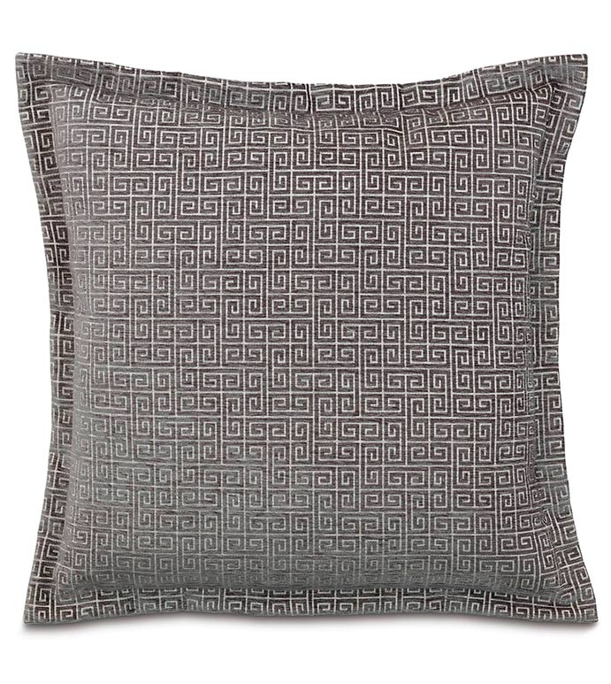 Murano Taupe Euro Sham - SILVER,TAUPE,GREY,WELT,PILLOW,PATTERN,DESIGN,GLAM,MODERN,SHAM,ACCENT,METALLIC,BEDROOM,BED,LUXURY BEDDING,INTERIOR DESIGN,DESIGNER,SQUARE,GREEK KEY,GEOMETRIC,CLASSIC,SLATE,FLANGE