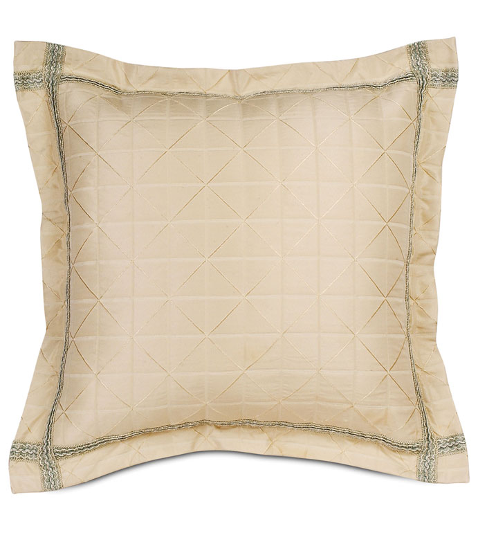CAPELLEN IVORY EURO SHAM - IVORY CHECKERED PILLOW,IVORY EURO SHAM,NEUTRAL DECORATIVE EURO SHAM,IVORY DIAMOND PILLOW,OVERSIZED IVORY PILLOW,IVORY AND BLUE,CREAM AND BLUE,VICTORIAN PILLOW,TRADITIONAL,CLASSIC