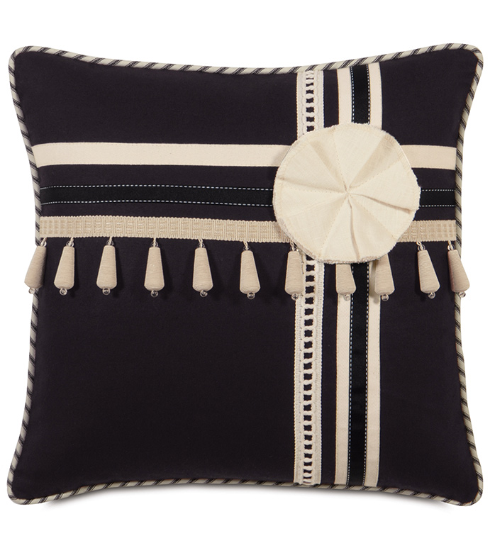 FULLERTON INK WITH TRIMS - TRIM APPLIQUE PILLOW,STRIPED PILLOW,BLACK AND WHITE,BLACK AND CREAM,BLACK AND IVORY,ORNAMENTED,TASSEL TRIM,BEADED TRIM,PIN STRIPED PILLOW,PINWHEEL,TRADITIONAL,CLASSIC,VICTORIAN