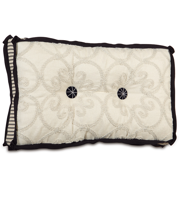 DESIREE PEARL TUFTED - black and white pillow,tufted pillow,boxed pillow,deep tufted pillow,button tufted,pinstriped pillow,black and ivory,black and cream,white and black,embroidered,victorian,pleated