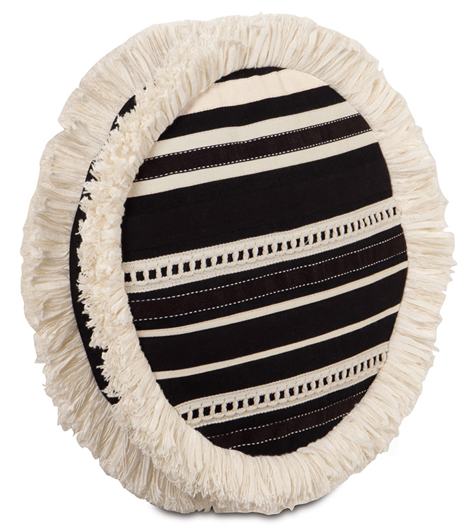 FULLERTON INK TAMBOURINE - circular pillow,tambourine pillow,black and white,white and black,black and cream,striped,trim applique, pillow,brush fringe,cream fringe,black bolster,classic,victorian,ribbon