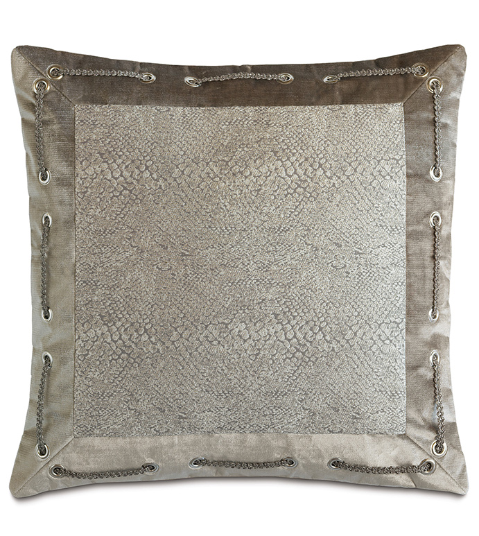Ezra Smoke mitered - PILLOW,NEUTRAL,GREY,MITER,SHINY,METALLIC,GLAM,GRAY,SILVER,SNAKESKIN,CONTEMPORARY,WOVEN,BEDDING,LUXURY BEDDING,HOME DECOR,DECORATIVE PILLOW,TRIM,GROMMET,BEDROOM,BORDER,ANIMAL PRINT